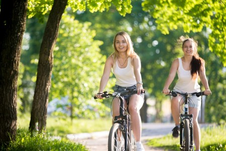 Teenage girls on bicycle ride